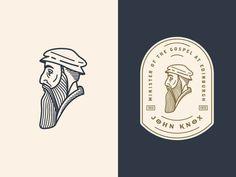 John Knox 3: logo etching design profile man portrait enclosure