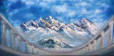 Himalayas mountains by Nino Ponditerra Original Paintings, Original Art, Oil Paintings, Mountain Paintings, Blue Painting, Mountain Landscape, Figurative Art, Asian Art, Buy Art