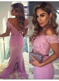 Pink Off-the-shoulder Cheap Evening Dress Mermaid Sexy 2017 Prom Dresses - Party dresses outlet