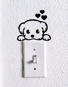 Cute Dog Baby Pet light switch wall decal , dog stickers, cute dog wall vinyl, cute dog nursery wall decal, funny wall decal, car decal by dadavinylsanddesigns on Etsy https://www.etsy.com/listing/399180139/cute-dog-baby-pet-light-switch-wall #It'sADogsLife