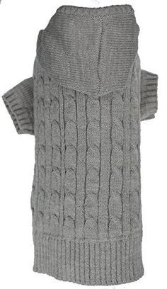 Grey Dog Classic Cable Pet Sweater Hoodie for Dogs, X-Large (XL) Size - http://www.thepuppy.org/grey-dog-classic-cable-pet-sweater-hoodie-for-dogs-x-large-xl-size/