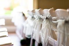 Sheer Gray Chair Ties. Wedding & Design by Simply Wed.  www.simplywed.com