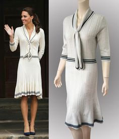 Cream white navy blue sailor style cable knit cashmere dress inspired by Duchess Kate