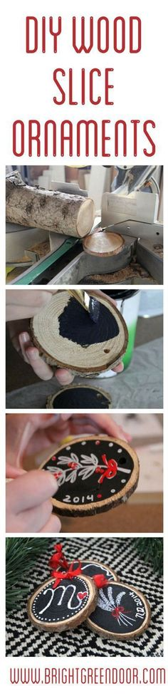DIY Wood Slice Ornaments http://www.BrightGreenDoor.com