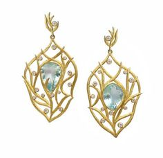 Laurie Kaiser aquamarine and diamond earrings.