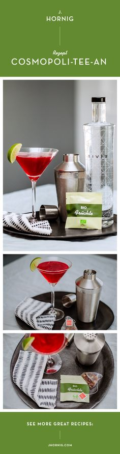 Sommerzeit ist Cocktail-Zeit! Diesmal haben wir aber nicht mit Kaffee, sondern mit #Tee experimentiert. Das schnelle #Rezept findest du in diesem Beitrag.   #diy #cocktail #summer #recipe #delicious #cosmopolitan Aperol, Martini, Champagne, Blog, Cosmopolitan, Drinks, Tableware, Party, Summer