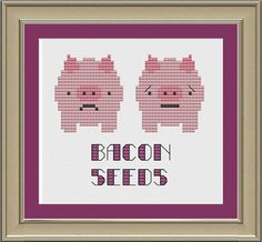 Bacon seeds: funny pig cross-stitch pattern