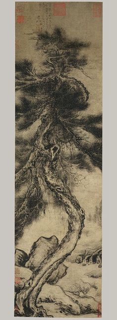 Dragon Pine, Ming dynasty (1368–1644), ca. 1400  Wu Boli (Chinese, active late 14th–early 15th century)  Hanging scroll; ink on paper