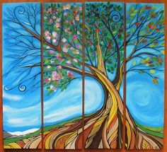 '4 seasons Tree' by April Lacheur. Acrylic Painter White Rock CB www.Yapespaints.com. '
