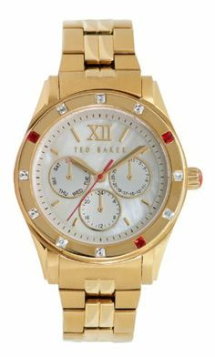Ted Baker Women's TE4067 Quality Time Single Case Construction Gold Tone Watch Ted Baker. Save 35 Off!. $116.18. Water-resistant to 30 M (99 feet). Japanese quartz analog multi-function movement with sweeping second hand and day/date. Silver mother of pearl dial and sunray texture eyes with red accents; limited lifetime warranty. Solid stainless steel link bracelet with solid stainless steel fold over closure with hidden safety release button. Solid stainless steel case, case back, c...
