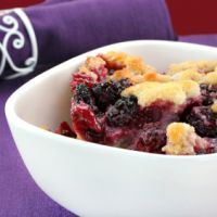 Easy Berry Cobbler...     2 C. flour     2 C. milk     2 C. sugar (ok to adjust),     4 tsp. baking powder     dash of salt     2 C. fruit - blueberries and peach are our favorites, (+ 1 tsp. of cinnamon if use apples..Mix the first 5 ingredients together and pour into a greased 9x13 pan. Pour the fruit over the top (and it ends up on the bottom.) Bake at 350 degrees for 20-30 minutes