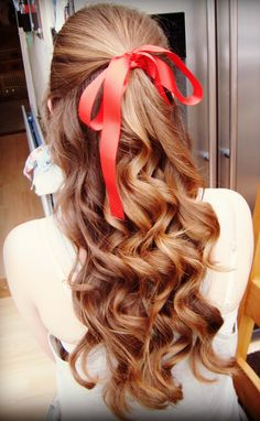 prom hair … - Hairstyles For All Halloween Kostüm, Diy Halloween Costumes, Halloween Makeup, Costume Ideas, Red Riding Hood Makeup, Red Riding Hood Costume, Ribbon Hairstyle, Hairstyles With Ribbon, Hair Bow