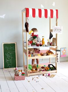 DIY Market Stand by German Nido #diy #play #kids #store #awning #tray #grocery