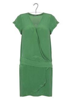 E-shop Robe Cache-coeur En Soie Vert Ikks pour femme sur Place des d3582df1c08