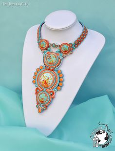 Autumn Breeze is a fully hand made necklace with polymer clay cabochons that I made from soutache braids, Czech seed beads, Japanese seed beads, Czech p. Seed Bead Jewelry, Boho Jewelry, Jewelry Crafts, Jewelry Art, Beaded Jewelry, Jewelery, Jewelry Design, Unique Jewelry, Wire Jewelry