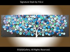 "36"" Abstract Painting Landscape Painting Original Modern Impasto Painting Tree Painting Canvas Painting Acrylic Painting ""Night Light Tree"""