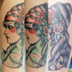 Tattoo Neotraditional Gitana  Arte: Daniela..
