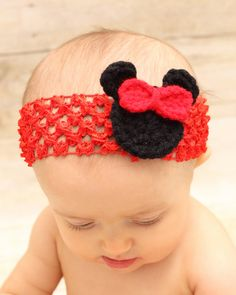 Crochet Minnie Mouse Red headband one size fits by jwhizcrochet, $5.00