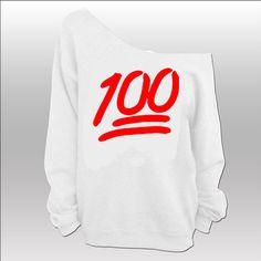 100 Emoji - Slouchy Wideneck Sweater