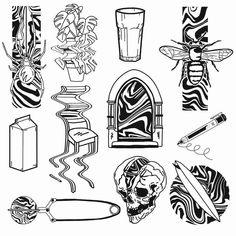 Blue Ink Tattoos, Sharpie Tattoos, Black Tattoos, Tattoo Flash Sheet, Tattoo Flash Art, Tattoo Sketches, Tattoo Drawings, Art Sketches, Cartoon Tattoos