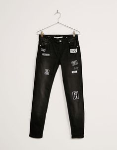 Skinny low waist patch jeans. Discover this and many more items in Bershka with…