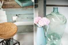 Found Vintage Rentals | color theory TEAL #teal #colortheory #demijohn #peonies #stool #vintage #vintagerentals #specialtyrentals