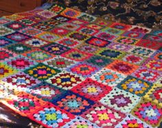 Large Crochet Blanket Granny Squares Afghan Throw 64 x 64