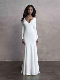 An open back balances the full-coverage minimalism of this elegant sheath long sleeved bridal gown. Top Wedding Dresses, Wedding Dress Shopping, Designer Wedding Dresses, Bridal Dresses, Wedding Gowns, Bridesmaid Dresses, Sheath Dresses, Bride Gowns, Formal Wedding
