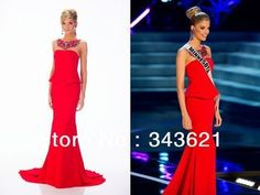 Simple Elegant Long Peplum Red Formal Party Miss USA Contestant Evening Gowns Dresses Custom Made