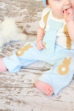Easter Baby Boys Easter Bunny Knee Patch pants  by shopantsypants, $17.00