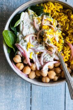 Simple Turmeric Rice Bowls with Quick Pickled Onions & Chickpeas   The Full Helping