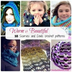 10 Warm & Beautiful Scarves & Cowls #crochetpatterns - STOP searching and START making. CrochetStreet.com