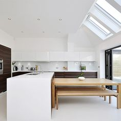 Sleek white and warm timber kitchen | Kitchen extension design ideas | Kitchen | PHOTO GALLERY | Beautiful Kitchens | Housetohome.co.uk