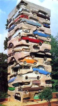 "Completed in the sculpture ""Long term parking"" by Arman is an high accumulation of 60 automobiles and lies on permanent display at the Château de Montcel in Jouy-en-Josas, France ~. Kunst Online, Online Art, Car Part Art, Art Et Architecture, Art Français, Art En Ligne, Art Sculpture, Art Database, Outdoor Art"