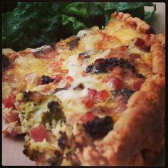 Tonight's dinner! Roasted broccoli & pancetta quiche with crisp summer greens! Yum! | www.MommyHiker.com