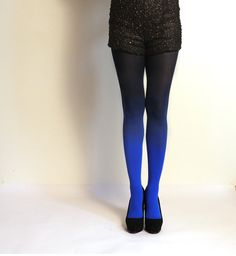 Ombre Tights  Blue/black  as seen on Today Show by xsilk on Etsy, $40.00