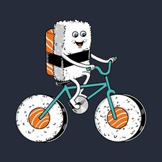 Check out this awesome 'Sushi+Bicycle' design on Arte Do Sushi, Sushi Cartoon, Sushi Logo, Bicycles For Sale, Sushi Party, Funny Doodles, Anime Muslim, Chocolate Sculptures, Kids Bicycle