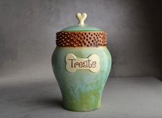 Items similar to Dog Treat Jar Made To Order Patina Brown Spiky Collared Dog Treat Jar by Symmetrical Pottery on Etsy Best Treats For Dogs, Dog Treats, Dog Treat Jar, Pottery Mugs, Pottery Ideas, Ceramic Pottery, Dog Cookies, Jar Lids, Jars