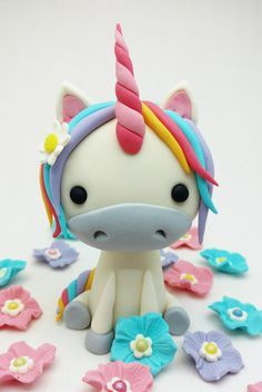 Unicorn and Flowers Fondant Cake Topper Set