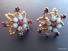 Vintage Earring Clip On Flower Ruby Red Rhinestone Frosted Glass Gold Tone! 396