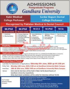 Admissions Gandhara University Peshawar 2020 For M Phil Mds Msc In 2020 Admissions Medical College University