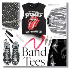 """Band Tees"" by drigomes ❤ liked on Polyvore featuring Boohoo, Sans Souci, Philipp Plein, Lapcos, Golden Goose, Henri Bendel and Bobbi Brown Cosmetics"