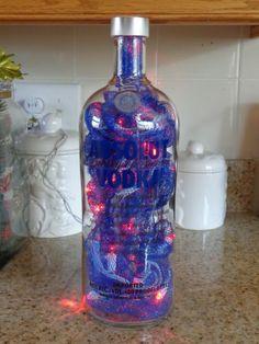 1.75 Lt Absolut Vodka Liquor Bottle Lamp- 35 Lights/Deco Mesh (NY Giants Logo)