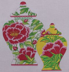 The Collection Designs Pink Green Vases SB964 Hand Painted Needlepoint Canvas #TheCollectionDesigns