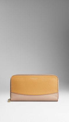 Colour Block Deerskin Ziparound Wallet | Burberry