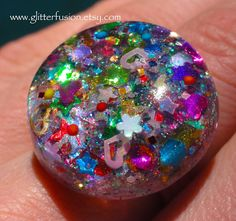 Little Pop Party Rainbow Resin Bubble Ring Confetti Surprise