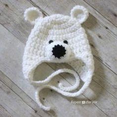 вязаная крючком детская шапка мишка