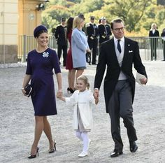 A pregnant Crown Princess Victoria, Prince Daniel and Princess Estelle at the baptism of Prince Nicolas, 11 October 2015
