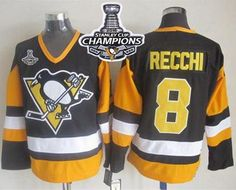 Penguins #8 Mark Recchi Black CCM Throwback 2016 Stanley Cup Champions Stitched NHL Jersey