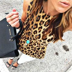 Camel Leo Print Tank Top by Sequins & Things